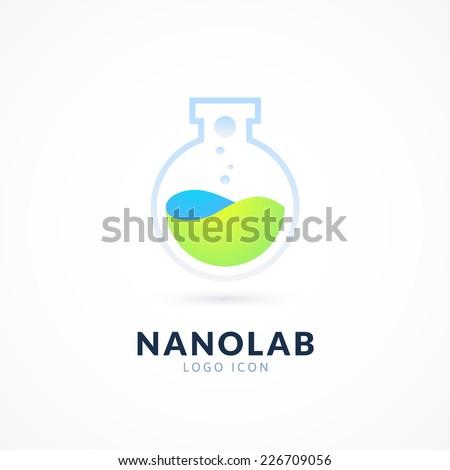 Nano lab logo template, vector science icon - stock vector