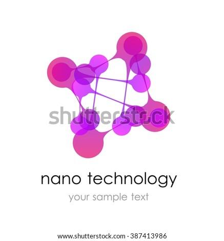 Nano logo - nanotechnology. Template design of logo. presentation.  - stock vector