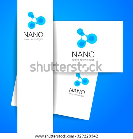 Nano logo - nanotechnology. Template design of logo. Vector presentation. - stock vector