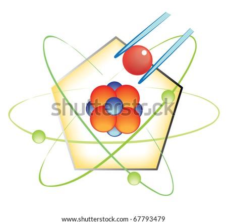 nano, nanotechnology, molecule construction concept - stock vector