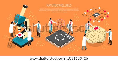 Nano technologies isometric composition on orange background with scientists, human brain with micro chip horizontal vector illustration