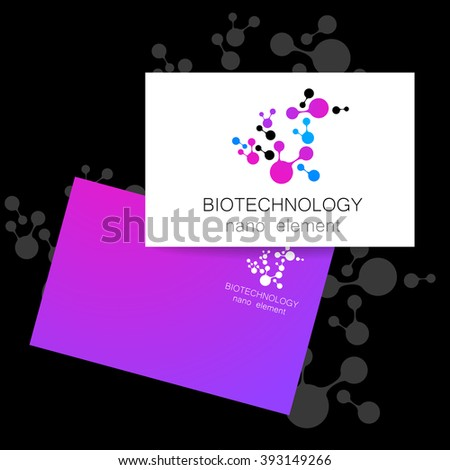 Nanotechnology development.  Biotechnology.   Abstract molecule vector template. Presentation of corporate identity for the medical industry, science, modern technologies. Vector logo template.