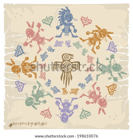 Napkin. Indians and ornament, vector - stock vector