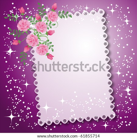 Napkin with lacy edges with roses, stars and a place for text or photo. - stock vector