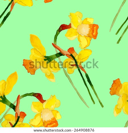 Narcissus seamless pattern.Watercolor pattern. Handdrawn. - stock vector