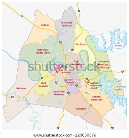 nashville road and community map - stock vector