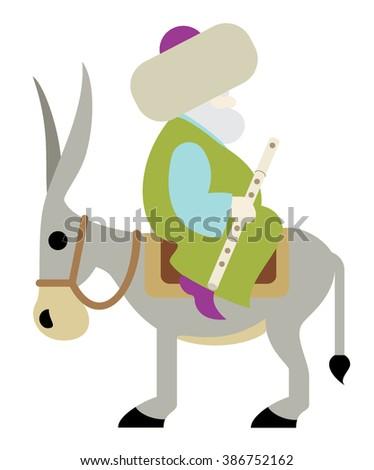 Nasreddin Hodja Sitting backwards on his Donkey - stock vector
