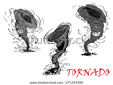 Nasty grey cartoon tornado, hurricane and thunderstorm characters with danger smiles - stock vector