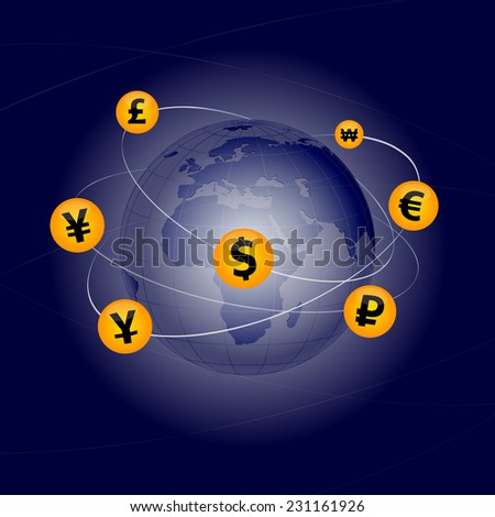 National currencies of some countries around the world moving. - stock vector