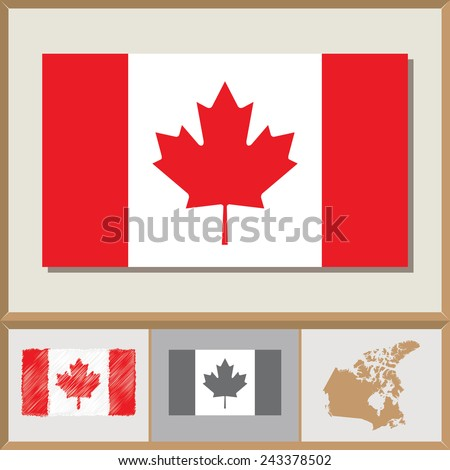 National flag and country silhouette of Canada - stock vector