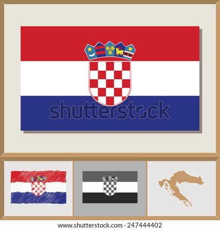 National flag and country silhouette of Croatia - stock vector