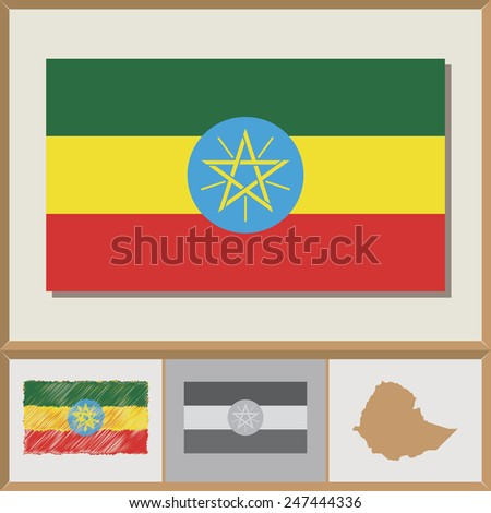 National flag and country silhouette of Ethiopia - stock vector