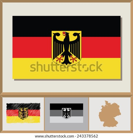 National flag and country silhouette of Germany - stock vector