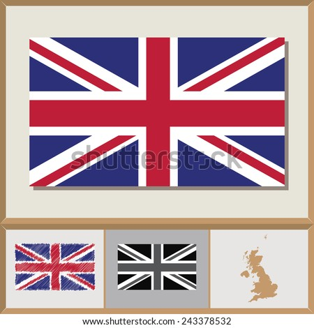 National flag and country silhouette of Great Britain - stock vector