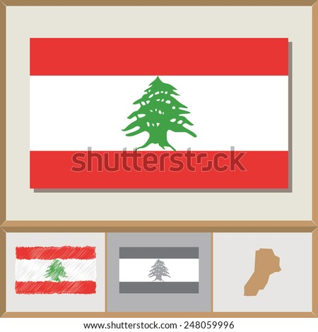 National flag and country silhouette of Lebanon - stock vector