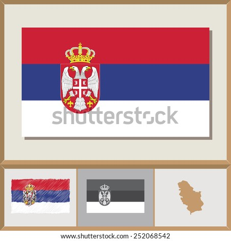 National flag and country silhouette of Serbia - stock vector
