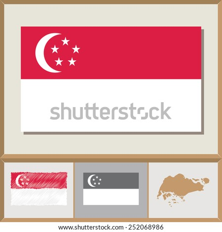 National flag and country silhouette of Singapore - stock vector