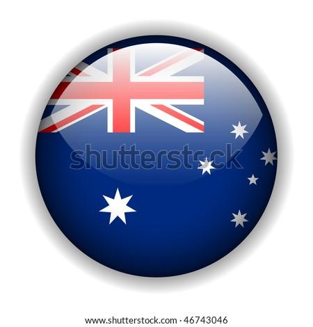 National flag of Australia - Australian flag, glossy button, vector - stock vector