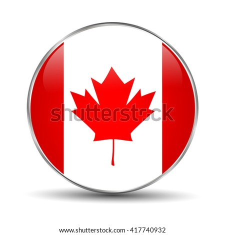 National flag of Canada. Canada flag button on a white background. Flag of Canada. Flat design style. Canadian Flag. Maple Leaf. - stock vector