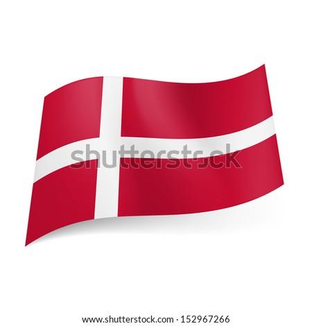 National flag of Denmark: white Scandinavian cross on red background. - stock vector