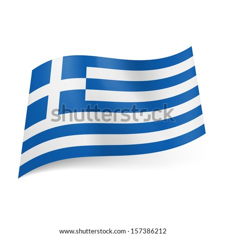 National flag of Greece: blue and white horizontal stripes with  white cross in blue square in upper left corner.  - stock vector
