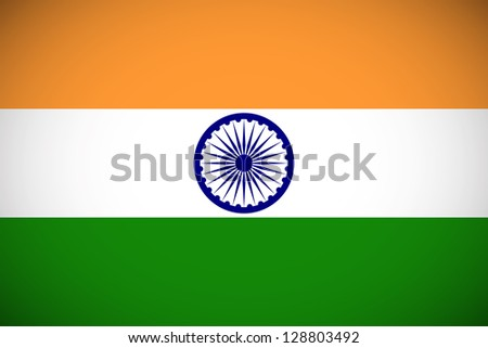 National flag of India with correct proportions and color scheme - stock vector