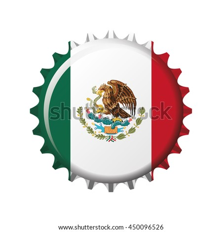 National flag of Mexico on a bottle cap. Vector Illustration - stock vector