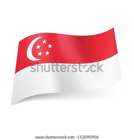 National flag of Singapore: red stripe with crescent moon and five stars in circle above white one. - stock vector
