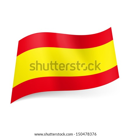 National flag of Spain: wide yellow stripe between two horizontal red ones. - stock vector