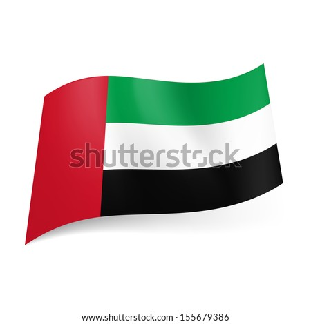 National flag of United Arab Emirates: green, white and black horizontal stripes with red vertical band on left side.