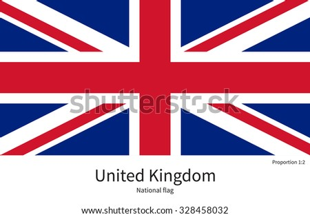 National flag of United Kingdom with correct proportions, element, colors for education books and official documentation - stock vector