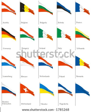 National flags Austria, Belgium,Bulgaria,Estonia, France,Germany,Hungary, Ireland, Italy,Lithuania,Luxembourg, Monaco, Netherlands, Poland, Romania, Russian Federation, Switzerland Ukraine Yugoslavia - stock vector