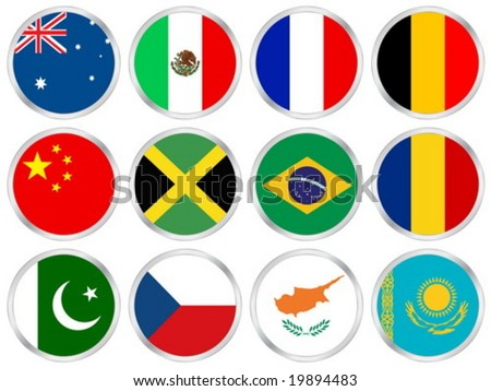 National flags circle icon set. Vector illustration. - stock vector