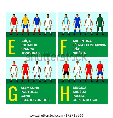 National football teams uniforms vector illustration with the names of the countries in Portuguese