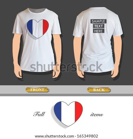 National heart printed on white shirt. Vector design. - stock vector