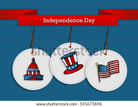 National Independence 4th July US concept background. This illustration is layered for easy manipulation and custom coloring - stock vector