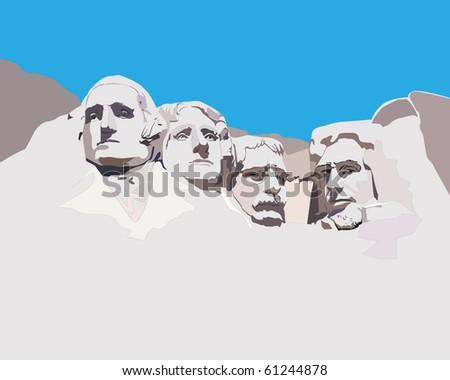 National memorial Mountain Rashmor against the blue sky - stock vector