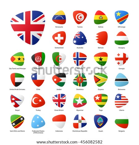 National participants flags of summer sport games in Rio. Part 5. - stock vector