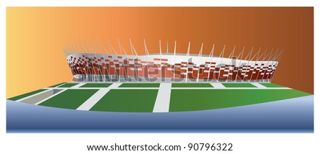 National Stadium in Warsaw color vector illustration. - stock vector