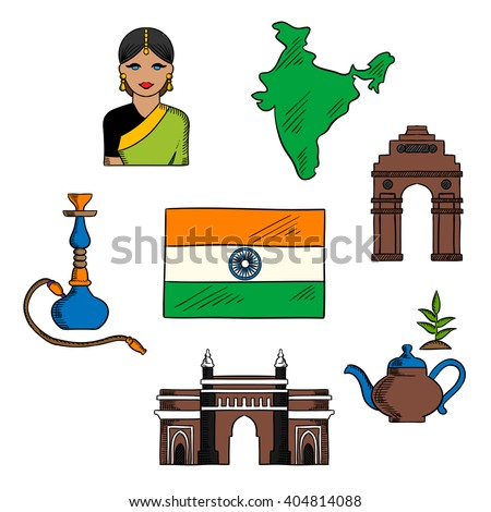 National Symbols India Theme Design Sketches Stock Vector 2018