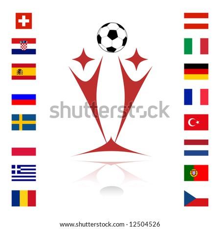 national team flags euro 2008 - stock vector