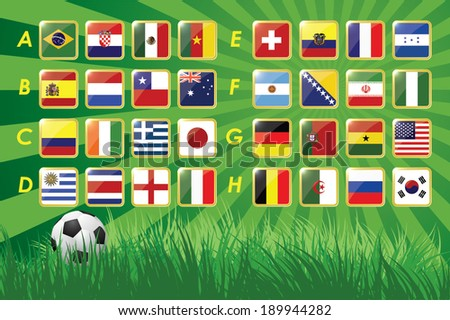 National Team Flags 2014 on grass background and soccer ball. 32 nations. vector icons. - stock vector