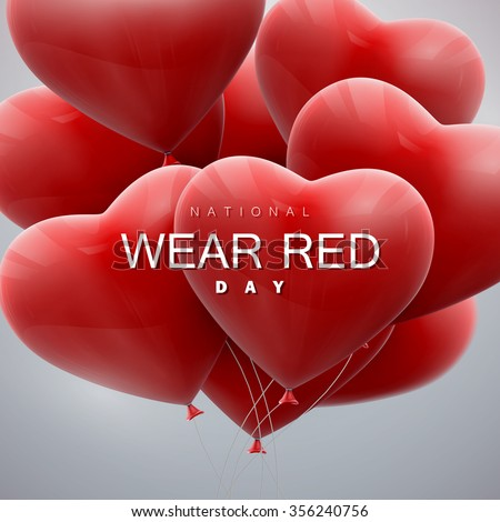 National wear red day. Vector holiday illustration of flying bunch of balloon hearts.  - stock vector