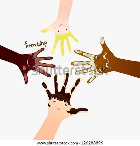 Nationality and friendship hands - stock vector
