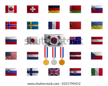 Nationals flags on white background. Flag of South Korea with medals. Vector illustration.