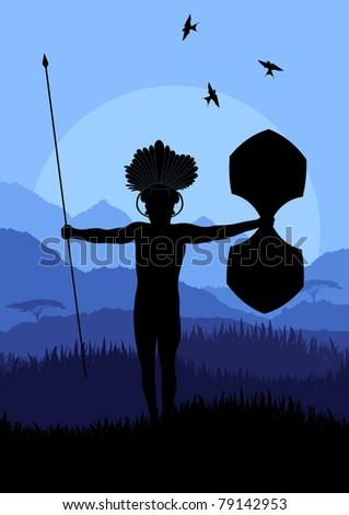 Native african warrior in wild nature landscape illustration