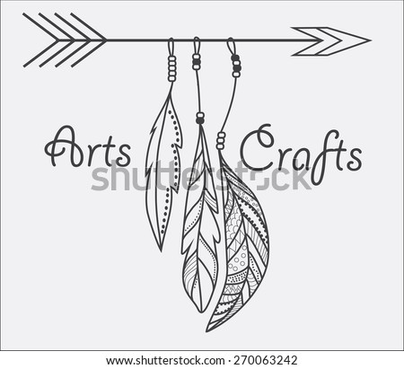 Native american arts and crafts arrow and feathers vector illustration.
