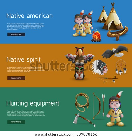 Native American banners with national  attributes hunting and spirituality vector illustration - stock vector