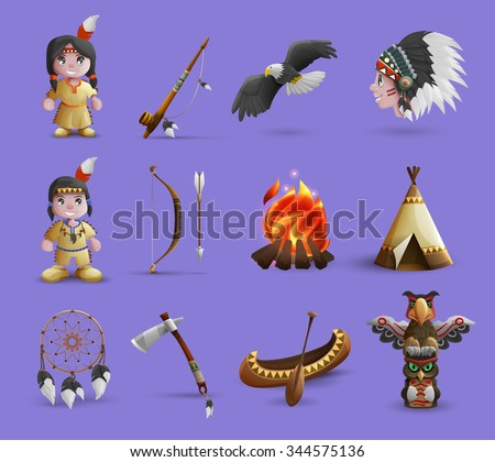 Native american cartoon  icons set with figurines in national dress and hunting equipment isolated  vector illustration - stock vector