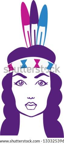 Native American Girl - stock vector